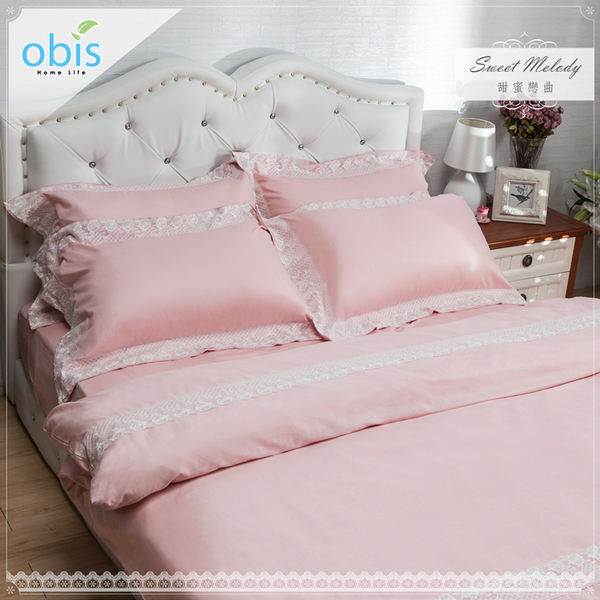 King size 雙人特大 甜蜜戀曲-精梳棉蕾絲四件式床包被套組[雙人特大大6×7尺]【obis】