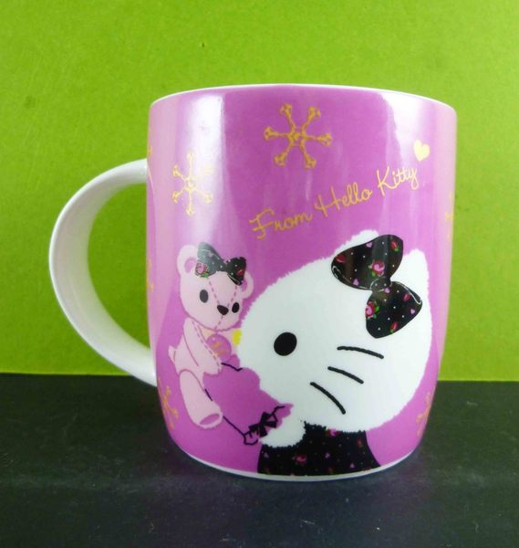 【震撼精品百貨】Hello Kitty 凱蒂貓~馬克杯-粉紫抱熊
