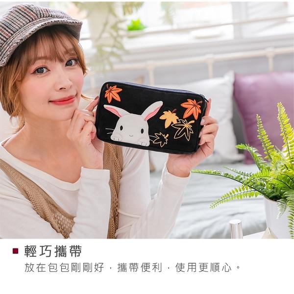 Kiro貓‧小白兔 楓葉刺繡 透明視窗 旅遊收納 化妝包/盥洗包【222902】