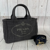 BRAND楓月 PRADA 1BG439 黑色 牛仔布 單寧布 托特包 手提包 側背包