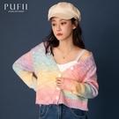 PUFII-針織上衣 兩穿V領排釦彩色針織上衣- 1203 現+預 冬【CP19571】