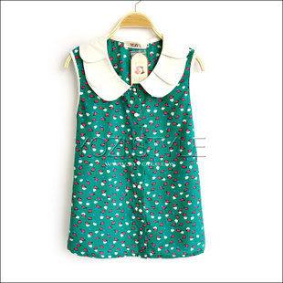 ZC256-011夏裝新品女裝複古碎花圖案娃娃領無袖開襟雪紡襯衫