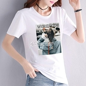 中大尺碼上衣 大碼女裝打底衫夏季新款短袖t恤白色網紅ins上衣服潮內搭薄 快速出貨