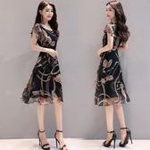 2018夏季新款女裝韓版顯瘦大碼印花雪紡連衣裙時尚氣質A字中長裙  無糖工作室