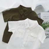 男嬰短袖襯衫 嬰童裝嬰兒帥氣口袋男童襯衣短袖薄款寶寶襯衫上衣外套 珍妮寶貝