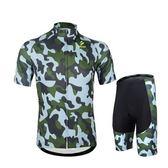 自行車衣套裝-含短袖腳踏車服+單車褲-迷彩風格吸汗男運動服69u26【時尚巴黎】