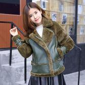女裝皮革城正韓皮毛一體外套夾克 街頭朋克時尚皮衣皮草