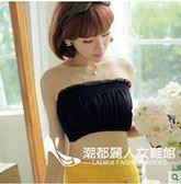 春夏季純色網紗抹胸 一片式蕾絲花邊防走光裹胸內衣打底【99狂歡購物節】