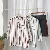 條紋襯衫夏季小清新男寬鬆七分袖日韓潮流帥氣中袖襯衣7分短袖衫【雙十一狂歡】