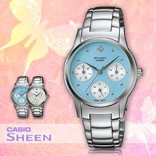CASIO手錶專賣店 卡西歐 SHEEN SHN-3000D-2A 女錶 粉藍面 三眼設計 不銹鋼錶帶