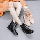 時尚雨鞋女百搭雨鞋女短筒成人水靴雨丁靴套加絨保暖防滑水鞋  居家物語
