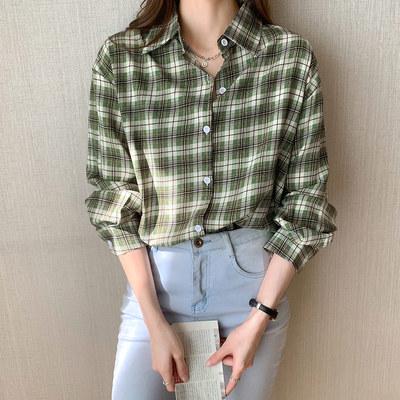 襯衫 長袖 上衣格子襯衫女設計感小眾新款秋季長袖薄款寬松襯衣 3641 N502 韓依紡
