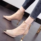 網紗尖頭馬丁靴女2021年新款夏季薄款細跟高跟鞋春秋單靴涼靴短靴6 幸福第一站