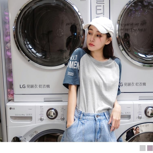 《AB12612》台灣製造.潮流拼色英字不對稱印花短袖上衣 OrangeBear