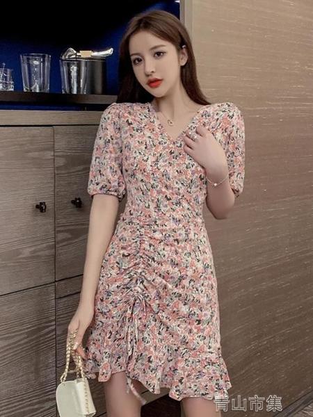 長袖洋裝寧莎 夏季新款韓版百搭修身 抽繩荷葉邊V領碎花短袖洋裝  全館免運