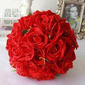 尾牙鉅惠婚禮花束 中國風大紅玫瑰手捧花新娘結婚仿真花束高檔中式婚禮秀和服攝影YYS 珍妮寶貝