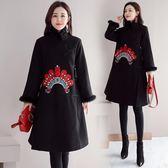 原創冬季中國風寬鬆腰呢子洋裝連身裙刺繡真兔毛加棉加厚A字裙洋裝 父親節降價