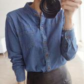 (全館免運)ZUCAS -~(N-095)韓版顯瘦長袖襯衣簡潔小立領水洗牛仔襯衫女