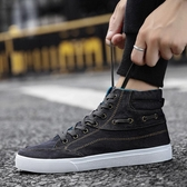 帆布鞋男冬季韓版透氣休閒高筒百搭板鞋布鞋 萬客居