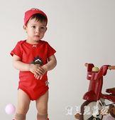 兒童包屁衣 童裝夏秋男女寶紅色恐龍連體棉質短袖爬服 BF7520『寶貝兒童裝』