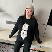 加大碼女裝胖韓版素色黑紅顯瘦圓領卡通毛衣寬松洋氣大號【小獅子】