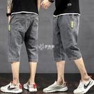 夏季薄款牛仔短褲男七分褲男士寬鬆直筒彈力中褲休閒哈倫潮流褲子