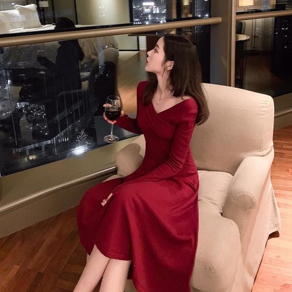 女神衣紅色連身裙子仙女超仙森系氣質女神范衣服秋冬2021年新款女裝早春LX嬡孕哺 618購物