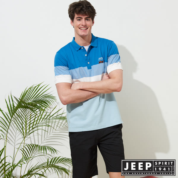 【JEEP】漸層造型質感短袖POLO衫-藍