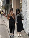 新品女裝閨蜜裝減齡牛仔背帶褲女韓版學院風寬松深色背帶裙潮