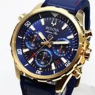 [萬年鐘錶] BULOVA寶路華  100M防水 三眼 計時碼錶  藍錶面   橡膠+皮錶帶 男錶  43mm 97B168