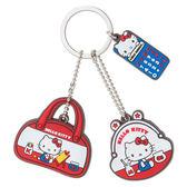 《Sanrio》HELLO KITTY復古懷舊系列矽膠造型鑰匙帽+鑰匙圈★funbox生活用品★_580058