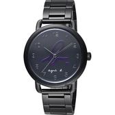 agnes b. 巴黎城市限定腕錶-黑x紫色字/40mm VJ21-KX30P(BG8039X1)