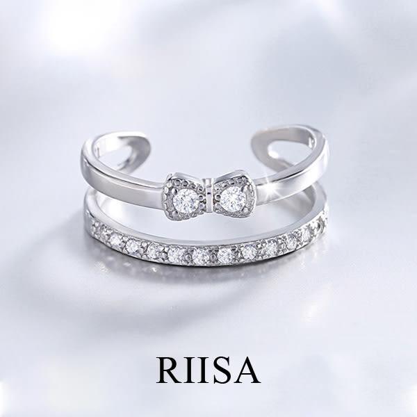 甜美蝴蝶結女孩微鑲鑽純銀開口戒