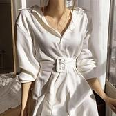 襯衫洋裝 chic極簡主義氣質翻領單排扣襯衫裙寬鬆腰帶長款過膝連衣裙 - 風尚3C