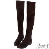 Ann'S正常版-素面平底彈力側拉鍊過膝靴-細絨咖