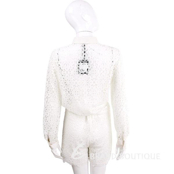 SCERVINO 白色棉料織花蕾絲襯衫式連身短褲 1620315-20