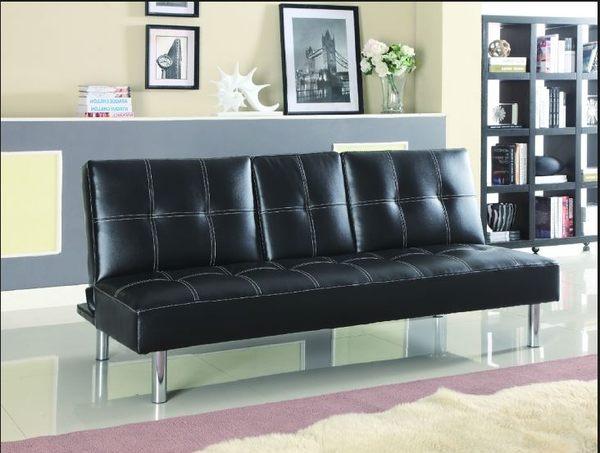 【南洋風休閒傢俱】沙發系列- 巴黎黑皮面沙發椅  套房雙人沙發床   (JF204-1)