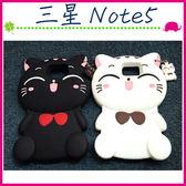 三星 Galaxy Note5 N9208 立體蝴蝶結貓咪手機套 TPU保護套 全包邊手機殼 可愛小貓保護殼 喵星人 招財貓
