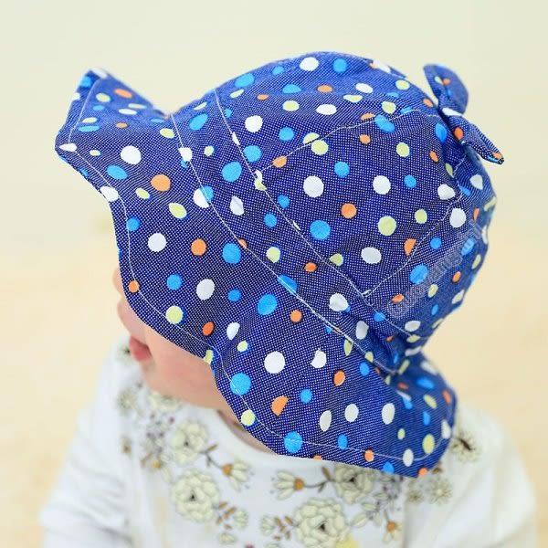 現貨 純棉牛仔點點遮陽帽 嬰兒 寶寶 女童 太陽帽 防曬帽 小童帽 有防風帶 盆帽【B696】