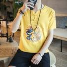 夏季亞麻短袖T恤 男復古盤扣刺繡龍袍唐裝中國風薄款個性潮流衣服 夏日專屬價