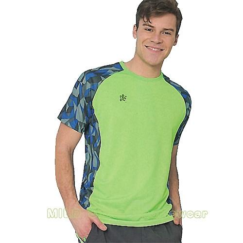 MILD STAR 男女吸濕排汗短T恤-AS181245-螢綠印花