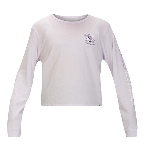 HURLEY 女 W RECORD PALMS PERFECT LS BLACK 長袖T恤