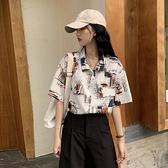 法式洋氣設計感小眾短袖復古港味花襯衫女夏2020新款雪紡港風襯衣