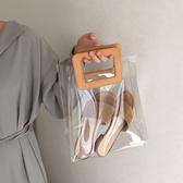 果凍包 2019春夏韓版新款透明果凍包PVC購物袋手提包ins人氣沙灘子母包女