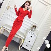 女裝2018秋裝新款韓版名媛氣質V領長袖雙排扣包臀裙長裙連衣裙女 初見居家