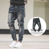 縮口褲 立體剪裁深藍刷色抽鬚束口褲牛仔褲【N9724J】