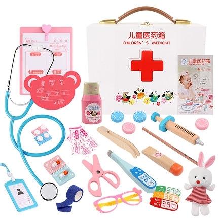 家家酒仿真小醫生玩具套裝木制醫療箱打針護士兒童過家家聽診器 樂淘淘