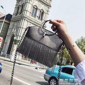 包包女韓版潮夏季流蘇水桶包復古chic鍊條百搭單肩斜背包 可可鞋櫃