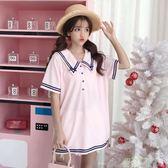 新款夏季女裝日系小清新可愛海軍領寬鬆刺繡短袖T恤學生上衣