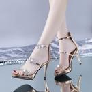 2021夏季一字扣帶高跟涼鞋女細跟防水臺性感水鉆女士高跟鞋34小碼 3C數位百貨